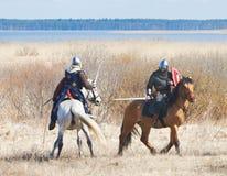 Μονομαχία των ιπποτών αλόγων Στοκ Φωτογραφία