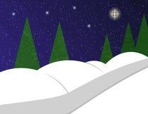Μονοπάτι στο χειμερινό τοπίο διανυσματική απεικόνιση