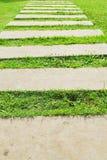 Μονοπάτι τσιμέντου στην πράσινη χλόη Στοκ εικόνα με δικαίωμα ελεύθερης χρήσης
