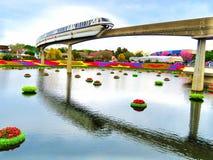 Μονοτρόχιος σιδηρόδρομος - διεθνές φεστιβάλ 2016 λουλουδιών και κήπων Epcot Στοκ εικόνες με δικαίωμα ελεύθερης χρήσης