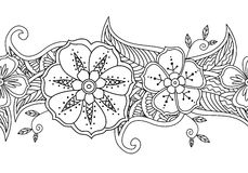 Μονοχρωματικά άνευ ραφής floral σύνορα σχεδίων στο άσπρο υπόβαθρο Στοκ Εικόνες