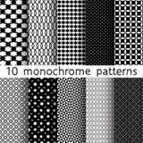 10 μονοχρωματικά διαφορετικά διανυσματικά άνευ ραφής σχέδια Στοκ Εικόνες