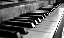 Μονοχρωματικά κλειδιά πιάνων στενός-πρόσθια Στοκ φωτογραφία με δικαίωμα ελεύθερης χρήσης