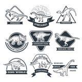 Μονοχρωματικές ετικέτες grunge που τίθενται με τους διαφορετικούς δεινοσαύρους ελεύθερη απεικόνιση δικαιώματος
