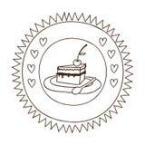 Μονοχρωματική σκιαγραφία στο κυκλικό πλαίσιο με τη μερίδα πιτών με το κεράσι ελεύθερη απεικόνιση δικαιώματος
