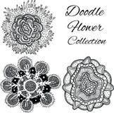 Μονοχρωματική συλλογή λουλουδιών Doodle Στοκ Φωτογραφίες