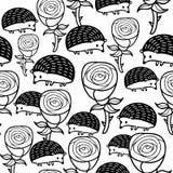 Μονοχρωματικό άνευ ραφής σχέδιο με τα τριαντάφυλλα και τους σκαντζόχοιρους Στοκ φωτογραφίες με δικαίωμα ελεύθερης χρήσης