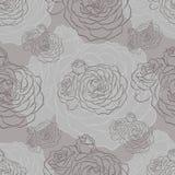 Μονοχρωματικό άνευ ραφής σχέδιο με τα τριαντάφυλλα Στοκ Εικόνες