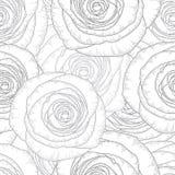 Μονοχρωματικό άνευ ραφής floral υπόβαθρο χέρι-σχεδίων με τα τριαντάφυλλα λουλουδιών Στοκ Εικόνα