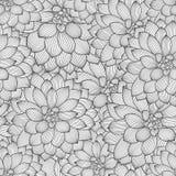 Μονοχρωματικό άνευ ραφής floral υπόβαθρο χέρι-σχεδίων με τις ντάλιες λουλουδιών Στοκ Φωτογραφία