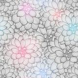 Μονοχρωματικό άνευ ραφής floral υπόβαθρο χέρι-σχεδίων με τις ντάλιες λουλουδιών Στοκ Εικόνες