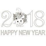 Μονοχρωματικό έμβλημα καλή χρονιά 2018 τυπογραφίας με το συρμένο χέρι σκυλί doodle Στοκ Φωτογραφία