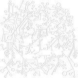 Μονοχρωματικό, γραφικό, αφηρημένο σχέδιο από τις γραμμές και τους κύκλους σε ένα άσπρο υπόβαθρο Ελεύθερη απεικόνιση δικαιώματος