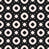 Μονοχρωματικό διανυσματικό άνευ ραφής σχέδιο με τους κύκλους, τα δαχτυλίδια και τα σημεία Στοκ φωτογραφία με δικαίωμα ελεύθερης χρήσης
