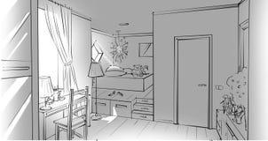 Μονοχρωματικό εσωτερικό κρεβατοκάμαρων κοριτσιών ` s Στοκ εικόνα με δικαίωμα ελεύθερης χρήσης