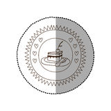 Μονοχρωματικό κυκλικό πλαίσιο με τη μέση αυτοκόλλητη ετικέττα σκιών με τη μερίδα πιτών με το κεράσι ελεύθερη απεικόνιση δικαιώματος