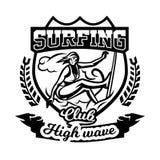 Μονοχρωματικό λογότυπο, έμβλημα, κορίτσι surfer Κάνοντας σερφ στα κύματα, η παραλία, Σαββατοκύριακο, ακραίος αθλητισμός επίσης co Στοκ φωτογραφίες με δικαίωμα ελεύθερης χρήσης
