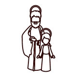 Μονοχρωματικό περίγραμμα με Άγιο Joseph και το αγόρι του Ιησού ελεύθερη απεικόνιση δικαιώματος