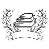 Μονοχρωματικό περίγραμμα με διασχισμένος branchs με τα φύλλα και τα βιβλία ελεύθερη απεικόνιση δικαιώματος