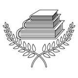 Μονοχρωματικό περίγραμμα με διασχισμένος branchs με τα φύλλα και τα βιβλία και την κορδέλλα διανυσματική απεικόνιση