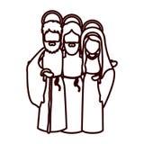 Μονοχρωματικό περίγραμμα με τον Ιησού που αγκαλιάζεται σε παρθένους Mary και Άγιο Joseph ελεύθερη απεικόνιση δικαιώματος