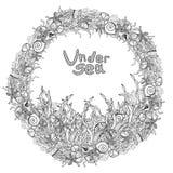 Μονοχρωματικό πλαίσιο διακοσμήσεων ύφους doodle γιρλαντών θάλασσας ελεύθερη απεικόνιση δικαιώματος