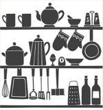 Μονοχρωματικό συρμένο χέρι άνευ ραφής σχέδιο εργαλείων κουζινών Στοκ Εικόνες