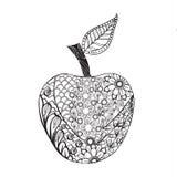 Μονοχρωματικό ύφος της Apple zentangle για το χρωματισμό του βιβλίου Στοκ Φωτογραφίες