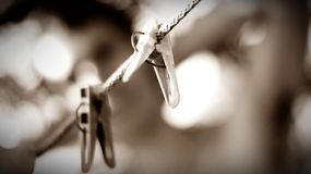 Μονοχρωματικό clothespin στην εστίαση στοκ εικόνα με δικαίωμα ελεύθερης χρήσης