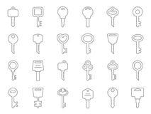 Μονο απεικονίσεις γραμμών των κλειδιών για τις πόρτες ελεύθερη απεικόνιση δικαιώματος