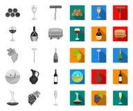 Μονο, επίπεδα εικονίδια αμπελοοινικών προϊόντων στην καθορισμένη συλλογή για το σχέδιο Εξοπλισμός και παραγωγή του διανυσματικού  ελεύθερη απεικόνιση δικαιώματος