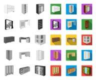 Μονο, επίπεδα εικονίδια επίπλων κρεβατοκάμαρων στην καθορισμένη συλλογή για το σχέδιο Σύγχρονο ξύλινο απόθεμα συμβόλων επίπλων is διανυσματική απεικόνιση
