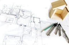 μοντέλο σπιτιών σχεδιαγραμμάτων ξύλινο Στοκ Φωτογραφία