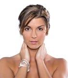 μοντέλο brunette headshot Στοκ Φωτογραφία