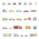 Μοντέρνα αναδρομικά εικονίδια γραμμών αυτοκινήτων καθορισμένα απομονωμένα Στοκ Φωτογραφία