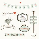 Μοντέρνα γαμήλια στοιχεία και λογότυπα και labelsand σύμβολα, διάνυσμα Στοκ εικόνα με δικαίωμα ελεύθερης χρήσης