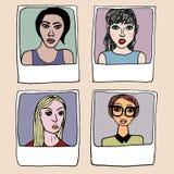 Μοντέρνα κορίτσια πλαισίων πορτρέτων Στοκ Εικόνα
