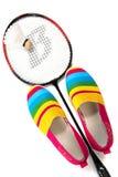 Μοντέρνα, φωτεινά, εύκολα αθλητικά παπούτσια (παπούτσια γυμναστικής) με μια ρακέτα Στοκ Φωτογραφίες