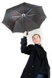 μοντέρνες νεολαίες ομπρελών ατόμων στοκ φωτογραφίες