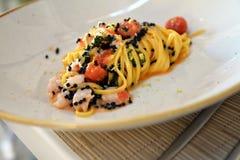 Μοντέρνη γαστρονομική ιταλική κουζίνα ζυμαρικών - σχέδιο τροφίμων Στοκ Εικόνες