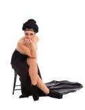 Μοντέρνη γυναίκα στο κομψό μαύρο φόρεμα στοκ φωτογραφία με δικαίωμα ελεύθερης χρήσης