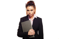 Μοντέρνη επιχειρηματίας με ένα lap-top Στοκ εικόνα με δικαίωμα ελεύθερης χρήσης