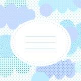 Μοντέρνη ευχετήρια κάρτα με τα σημεία και τα cloudlets Πόλκα Στοκ Φωτογραφίες