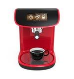 Μοντέρνη κόκκινη μηχανή καφέ με την οθόνη αφής απεικόνιση αποθεμάτων