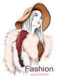 Μοντέρνη όμορφη νέα γυναίκα στο καπέλο σκίτσο Συρμένο χέρι κορίτσι στο παλτό γουνών Απεικόνιση μόδας Στοκ φωτογραφίες με δικαίωμα ελεύθερης χρήσης