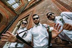 Μοντέρνοι groomsmen στα γυαλιά ηλίου και τους τόξο-δεσμούς Στοκ Φωτογραφίες