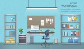 Μοντέρνος και σύγχρονος εργασιακός χώρος γραφείων Εσωτερικό δωματίων με το γραφείο πρόσθετη επιχειρησιακή μορφή ανασκόπησης απεικόνιση αποθεμάτων