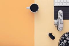 Μοντέρνος χώρος εργασίας Τοπ όψη Επίπεδος βάλτε στοκ φωτογραφίες
