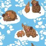 Μοντέρνο άνευ ραφής σχέδιο παιδιών με τα μαμούθ μέσα Στοκ Εικόνες