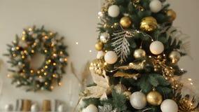 Μοντέρνο άσπρο εσωτερικό Χριστουγέννων με τα διακοσμημένα δέντρα έλατου Σπίτι άνεσης με το σύνολο χριστουγεννιάτικων δέντρων των  φιλμ μικρού μήκους